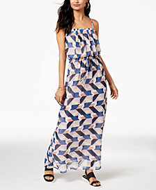 City Studios Juniors' Geo-Print Blouson Maxi Dress