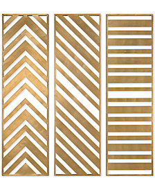 Uttermost Zahara 3-Pc. Gold-Tone Panel Wall Art Set