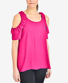 NY Collection Cold-Shoulder Ruffled Top