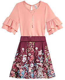 Beautees Big Girls 3-Pc. Bodysuit, Skirt & Necklace Set