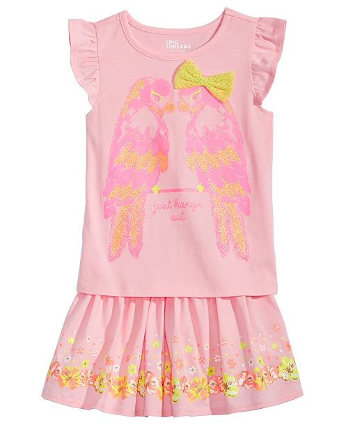 Epic Threads Little Girls Parrots T-Shirt & Floral-Print Skirt, Created for Macy's