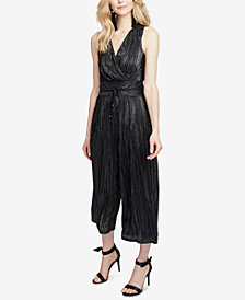 RACHEL Rachel Roy Metallic-Pleated Cropped Jumpsuit