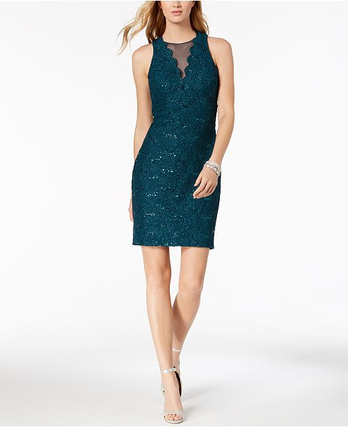264a8d39da2 Nightway Sequined Lace Cocktail Dress  Nightway Sequined Lace Cocktail Dress  ...