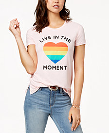 Love Tribe Juniors' Live In The Moment Graphic-Print T-Shirt