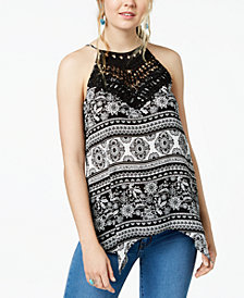 BCX Juniors' Printed Crochet Tank Top