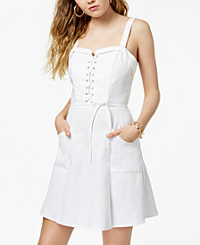 XOXO Juniors' Lace-Up Fit & Flare Dress