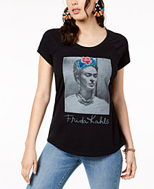 True Vintage Cotton Caviar-Embellished Frida-Graphic T-Shirt