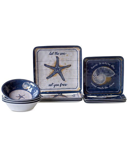 Certified International Calm Seas 12-Pc. Dinnerware Set, Service for 4