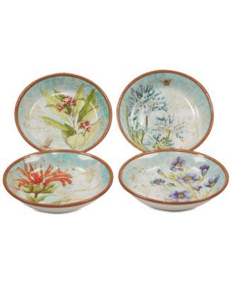 Herb Blossom Pasta/Soup Bowls, Set of 4