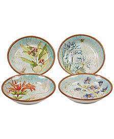 Certified International Herb Blossom Pasta/Soup Bowls, Set of 4