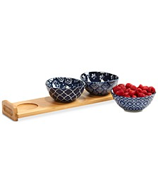 4-Pc. Blue Indigo Bowls & Tray Serving Set