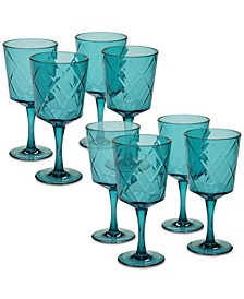 Teal Diamond Acrylic 8-Pc. All-Purpose Goblet Set