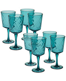 Certified International Teal Diamond Acrylic 8-Pc. All-Purpose Goblet Set
