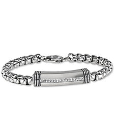 Esquire Men's Jewelry Diamond Bar Link Bracelet (1/10 ct. t.w.) in Stainless Steel, Created for Macy's