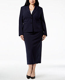 Le Suit Plus Size Two-Button Midi Skirt Suit