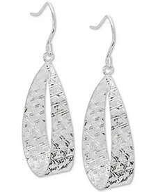 Giani Bernini Textured Flat Oval Drop Earrings in Sterling Silver, Created for Macy's