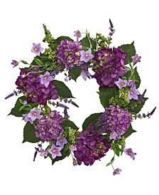 "Nearly Natural 24"" Purple Hydrangea Artificial Wreath"