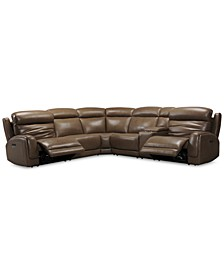 "Winterton 127"" 6-Pc. Leather Sectional Sofa With 2 Power Recliners, Power Headrests, Lumbar, Console & USB Power Outlet"