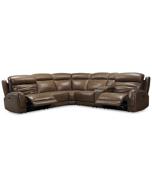 """Furniture Winterton 127"""" 6-Pc. Leather Sectional Sofa With 2 Power Recliners, Power Headrests, Lumbar, Console & USB Power Outlet"""