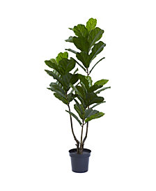 "Nearly Natural 65"" Indoor/Outdoor UV-Resistant Artificial Fiddle Leaf Tree"