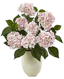 Nearly Natural Pink Hydrangea Artificial Arrangement with White Planter