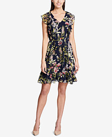 Tommy Hilfiger Flutter-Sleeve Fit & Flare Dress