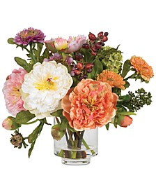 Artificial Peony Arrangement with Glass Vase