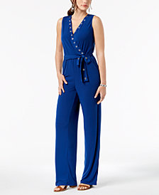 NY Collection Petite Grommet-Trim Belted Surplice Jumpsuit