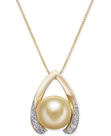 """Cultured Golden South Sea Pearl (10mm) & Diamond (1/8 ct. t.w.) Wishbone 18"""" Pendant Necklace in 14k Gold"""