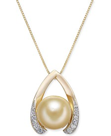 "Cultured Golden South Sea Pearl (10mm) & Diamond (1/8 ct. t.w.) Wishbone 18"" Pendant Necklace in 14k Gold"