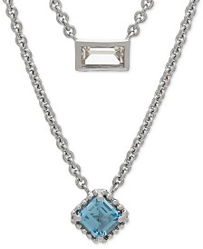 "Blue Topaz (3/4 ct. t.w.) White Topaz (3/8 ct. t.w.) Layered 17"" Pendant Necklace in Sterling Silver"
