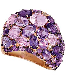 Le Vian® Strawberry & Nude™ Amethyst (8-1/2 ct. t.w.) & Diamond (1/8 ct. t.w.) Statement Ring in 14k Rose Gold