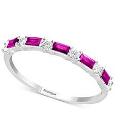 EFFY® Certified Ruby (1/3 ct. t.w.) & Diamond (1/8 ct. t.w.) Ring in 14k White Gold