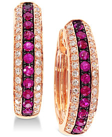 EFFY® Ruby (1/3 ct. t.w.) & Diamond (1/4 ct. t.w.) Hoop Earrings in 14k Gold