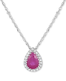 Certified Ruby (3/4 ct. t.w.) & Diamond Accent Pendant Necklace in 14k White Gold (Also available in Sapphire & Emerald)