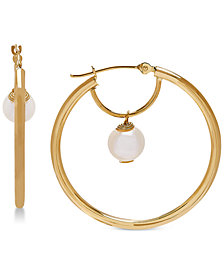 Cultured Freshwater Pearl (6mm) Pearl Drop Hoop Earrings in 14k Gold
