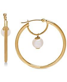 Cultured Freshwater Pearl (6mm) Pearl Drop Hoop Earrings in 14k Gold