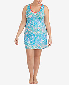 Layla Plus Size Printed Empire-Waist Short Chemise