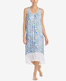 Ellen Tracy Printed Chiffon-Hem Nightgown