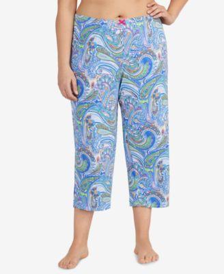 Plus Size Printed Cropped Pajama Pants