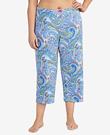 Ellen Tracy Plus Size Printed Cropped Pajama Pants