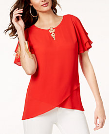 Thalia Sodi Embellished Flutter-Sleeve Top, Created for Macy's