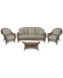 Sandy Cove Outdoor Wicker 4-Pc. Seating Set (1 Sofa, 2 Club Chairs and 1 Coffee Table) Custom Sunbrella®, Created for Macy's