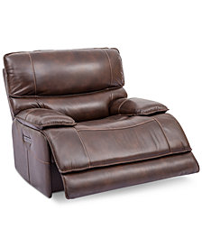 Woodyn Leather Power Recliner With Power Headrest, Lumbar And USB Power Outlet