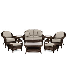 Monterey Outdoor Wicker 6-Pc. Seating Set (1 Loveseat, 2 Club Chairs, 2 Ottomans & 1 Coffee Table) with Custom Sunbrella®,  Created for Macy's
