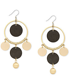 Lucky Brand Gold-Tone & Wood Beaded Orbital Statement Earrings