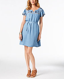 Style & Co Embroidered Fit & Flare Dress, Created for Macy's