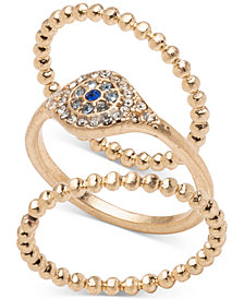 lonna & lilly Gold-Tone 3-Pc. Set Pavé Evil Eye Rings