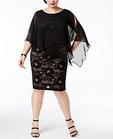 Connected Plus Size Lace Chiffon-Cape Dress