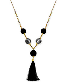 "I.N.C. Gold-Tone Bead & Wrapped Ball Tassel Pendant Necklace, 36"" + 3"" extender, Created for Macy's"